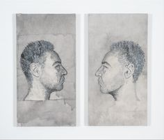 Embroidered Diptych - Portrait of my father for VCE Art #VCE #art