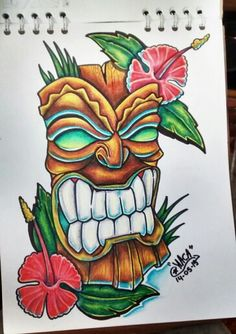 Mascara tiki dibujo Tiki Tattoo, 1 Tattoo, Drawing Sketches, Art Drawings, Tiki Head, Tiki Totem, Hawaiian Tiki, Tiki Mask, Neue Tattoos