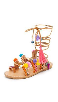 2ccdee3978f7 Elina Linardaki Penny Lane Lace Up Sandals Semi-precious stones
