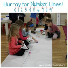 """Who knew that number lines could be so much fun? Well my students and I found out just how much fun they can be during one of our recent math bag days.    We started our morning math by reading """"The Line Up Book"""" by Marisabina Russo. This is a simple to read aloud book about a boy who is being c"""