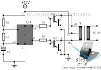 Low power inverter schematic are only use 9 components , one of which IC 556 , NPN Darlington transistor.And turns 10 to 16 Vdc into 60 HZ, output 115 V square-wave power to operate ac equipment up to 25 W Solar Panel Battery, Solar Panel Kits, Solar Panels, Diy Electronics, Electronics Projects, Landscape Arquitecture, Solar Roof Tiles, Car Amplifier, Solar Power System