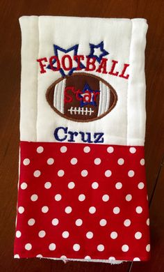A personal favorite from my Etsy shop https://www.etsy.com/listing/280301280/football-burp-cloth-sports-burp-cloth