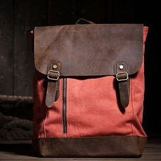 (99+) Red and Brown Leather and Canvas Backpack. Computer Bag from LadyBagsSF