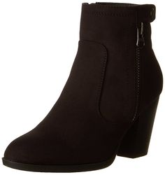 1e3ec74af Women s Bunty Faux Suede Cowboy Stacked Heels Ankle Booties with side  accents - Black - CH1246TFMRX - Women s Shoes