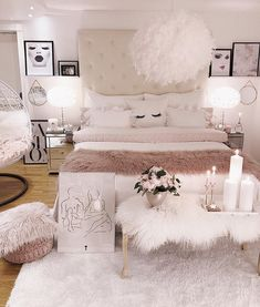 Schlafzimmer Upgrade – Home Decor Apartment Teen Bedroom Designs, Bedroom Decor For Teen Girls, Teen Room Decor, Room Decor Bedroom Rose Gold, Room Ideas Bedroom, Diy Bedroom, Master Bedroom, Stylish Bedroom, Modern Bedroom
