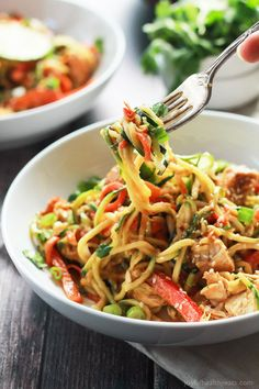 17. Thai Chicken Zucchini Noodles with Spicy Peanut Sauce | Community Post: 17 Insanely Delicious Stir-Fry Noodles That'll Only Take 15 Minutes
