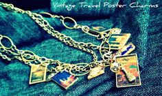 Vintage Travel Poster Charm Necklace