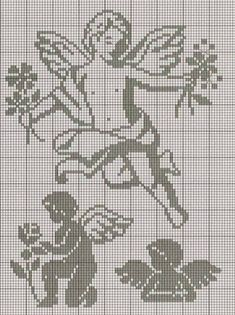 Crochet Angels, Crochet Birds, Thread Crochet, Filet Crochet Charts, Knitting Charts, Cross Stitch Embroidery, Cross Stitch Patterns, Sunburst Granny Square, Cross Stitch Angels