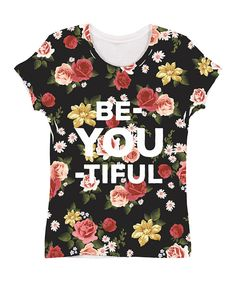 Look what I found on Black & Red 'Be-You-Tiful' Floral Sublimated Tee by Zip-Tees Casual Outfits, Cute Outfits, Casual Clothes, Red S, Printed Tees, Soft Fabrics, My Style, Floral, Black