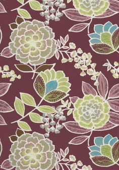Sulu #wallpaper and coordinating #fabric in Plum from the #Monterey Collection…