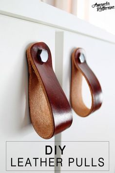 Give your furniture a new look in a few short minutes with these simple DIY leather pulls. They have such a modern rustic feel that I love! Would be super cute on a boy's nursery dresser too  http://www.amandakatherine.com/ikea-vanity-hack-diy-leather-pulls/