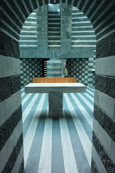 The temples of consumption: Mario Botta. Church of st joh the baptist, Mogno, Maggia valley , Switzerland.
