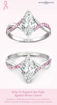 Let the power of hope shimmer! Slip into this beautiful pink and white Diamonesk diamond ring and show your support for those affected by breast cancer. Best of all, a portion of the proceeds from this stunning ring will be donated to support the fight against breast cancer.