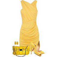 beautiful buttercup yellow sleeveless, criss-cross bodice, ruched front sheath dress