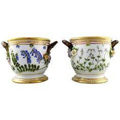 """Pair of Antique Royal Copenhagen """"Flora Danica"""" Large Wine Coolers / Flower Pots"""