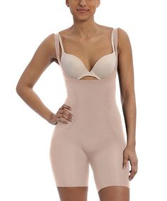 2ddd192e65 Star Power by SPANX® Power Play Open Bust Mid-Thigh Bodysuit - Natural Glam