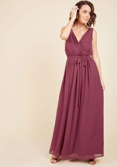 Cinch the sash of this burgundy dress and step outside for a moment on the veranda before the party begins. Moonlight catches the surplice neckline, V-backline, and gathered waist of this maxi from our ModCloth namesake label, enveloping you in its classy elegance for hours.By the way, this lovely item will be available for purchase in November!