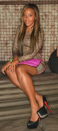 Angela Simmons' pretty legs in Louboutins