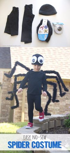 Disfraz de araña (sin costuras) - makeit-loveit.com - DIY No Sew Spider Costume