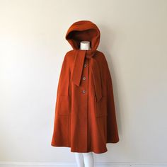 Vintage 1940s High Fashion Hooded Rust Orange Wool Opera Cape Coat with Heart Shaped Hood #etsy $249