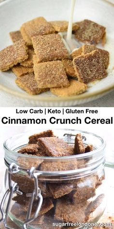 Are you up for a low carb breakfast treat? This super crunchy Keto cereal recipe fits the bill! Its a sugar free take on the popular cinnamon toast crunch breakfast cereal. This version is gluten free grain free and tastes delicious. Cereal Keto, Cereal Sin Gluten, Low Carb Cereal, Crunch Cereal, Healthy Cereal, Sugar Free Cereal, Fun Baking Recipes, Cereal Recipes, Dessert Recipes