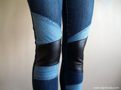Denim & leather patchwork: customiza tus vaqueros - Dare to DIY