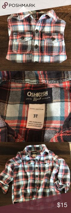 EUC OshKosh button up shirt Boys 3T flannel plaid shirt. EUC, very soft. 2 front button pockets. Blue/teal/coral plaid OshKosh B'gosh Shirts & Tops Button Down Shirts