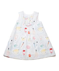 This White Lipstick Pleated Bib Swing Dress - Infant, Toddler & Girls by Lourdes is perfect! #zulilyfinds
