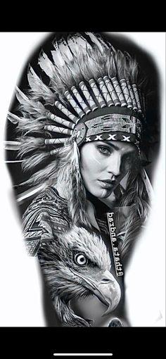Indian Women Tattoo, Indian Girl Tattoos, Indian Tattoo Design, Native American Drawing, Native American Tattoos, Native Tattoos, Mayan Tattoos, Tribal Arm Tattoos, Eagle Tattoos