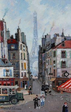 """Michel Delacroix, La Tour Eiffel veille sur le vieux Paris, 2015, acrylic on board, 13"""" x 8.5"""" #eiffel #tower #eiffeltower #french #france #paris #parisian #art #acrylic #painting #boulevard #streetscene #dog"""