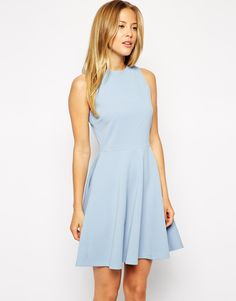 Image 1 ofASOS Skater Dress in Texture with High Neck