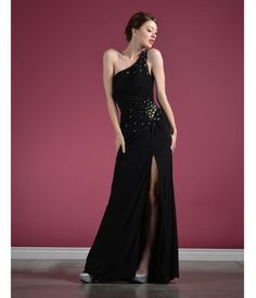 This sleek jersey gown features multicolor gem stone embellishments and a thigh-high slit. FEATURES: ......Price - $134.00-ih29fxN4