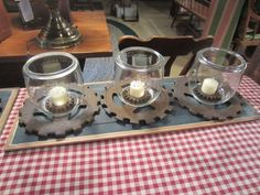 Early Iron Gears Used as Part of a Centerpiece