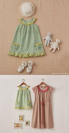 süßes Hängerchen Kleid mit Rundpasse für ca 100cm ~Ruffles And Stuff~: Free Japanese Pattern (With English Instructions!)