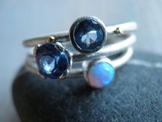 Engagement Rings Set Stacking Rings Vintage by Limorafaeli on Etsy
