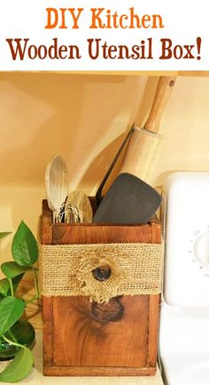 76 Crafts To Make and Sell - Easy DIY Ideas for Cheap Things To Sell on Etsy, Online and for Craft Fairs. Make Money with These Homemade Crafts for Teens, Kids, Christmas, Summer, Mother's Day Gifts. |  DIY Wooden Utensil Box for Your Kitchen  |  diyjoy.com/crafts-to-make-and-sell