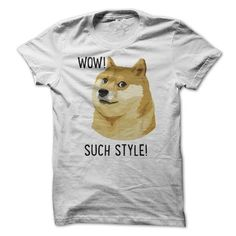 WOW SUCH STYLE Funny Doge Meme Shiba Inu T Shirt T-Shirt Hoodie Sweatshirts uue