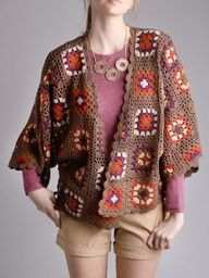 Granny Square Cardigan - I wouldnt pair it with the clothes the model is wearing.