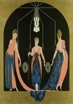 """Time of """"Porco Rosso"""" Three Graces by Romain de Tirtoff aka Erté Arte Art Deco, Moda Art Deco, Art Deco Artists, Estilo Art Deco, Art And Illustration, Illustrations And Posters, Erte Art, Romain De Tirtoff, Art Deco Stil"""