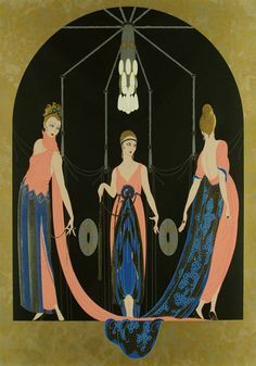 "Time of ""Porco Rosso"" Three Graces by Romain de Tirtoff aka Erté Art And Illustration, Art Deco Print, Art Prints, Moda Art Deco, Art Nouveau, Erte Art, Art Deco Artists, Estilo Art Deco, Inspiration Art"