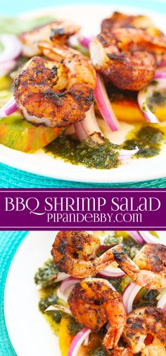 BBQ Spiced Shrimp with Tomato Salad | This salad is beautiful AND delicious!