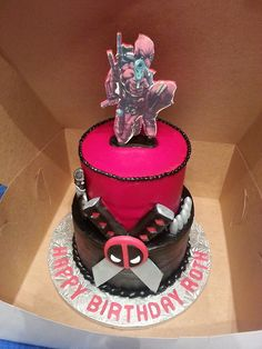 Our Wedding Cake  I wanted a nerdy one but husband said no  So we     Deadpool Cake  FOR A groom s cake