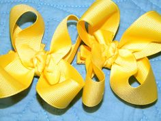 Yellow Pigtail bows $8.00 available at www.facebook.com/HoneyPieAccessories
