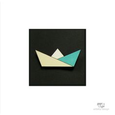Paper boat - plywood brooch