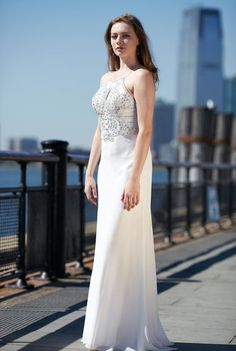 Ivory Halter Beaded Train Dress by Joanna Chen #Prom #JoannaChenNY