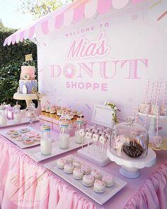Donut Dessert Table from a Donut Shoppe Birthday Party on Kara's Party Ideas | KarasPartyIdeas.com (10)