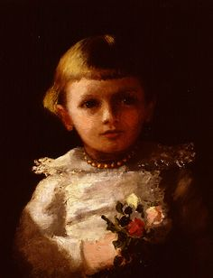 """""""Little Girl with Flowers,"""" Abbott Handerson Thayer, ca. 1885-90, oil on canvas, 18 1/8 in. x 14"""", Ruth Chandler Williamson Gallery at Scripps College."""