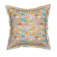 Serama Throw Pillow featuring  japanese cherry sakura flowers, cute kawaii faces…
