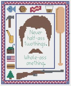 Ron Swanson Quote Sampler by StitchItGooder on Etsy