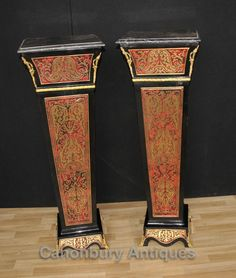 - Stunning pair of French Louis XV style Boulle pedestal stands<BR> - Such a handsome pair just waiting for the right marble bust or pair of vases to display<BR> - Love the splayed design to the colums<BR> - Of course replete with distinctive Boulle inlay with brass, ebony and tort<BR> - Purchased from a dealer on March Dauphine at the Paris flea markets<BR> - We have a whole host of other Boulle furniture - desks, cabinets, tables etc - if you are looking for matching pieces<BR> - Please…